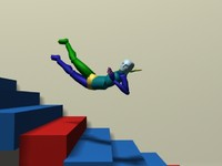 Biped kicked fall back down stairs