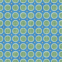 Coordinated Cottons - Green on Blue Modern Dots