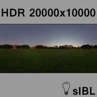 Park at sunset panorama