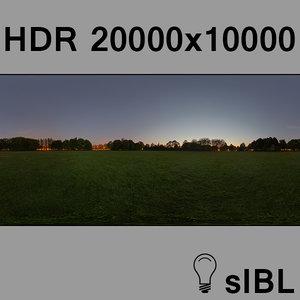 Park at sunset panorama