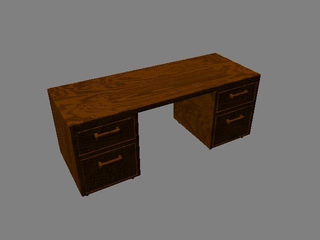 symmetrical wooden desk 3d obj