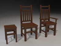 3d wooden chairs model