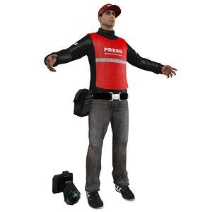 3d press photographer man