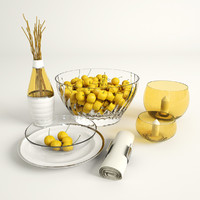 yellow cherries 3d max