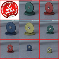3d model colored gym barbell weight