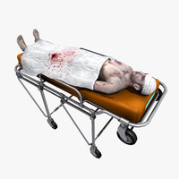 3d model victim patient medical stretcher