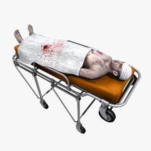 3d model victim patient medical stretcher