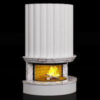 3d fireplace marble