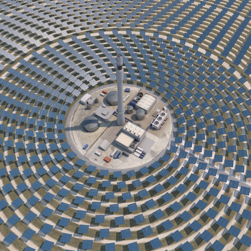 3d model thermal solar power plant