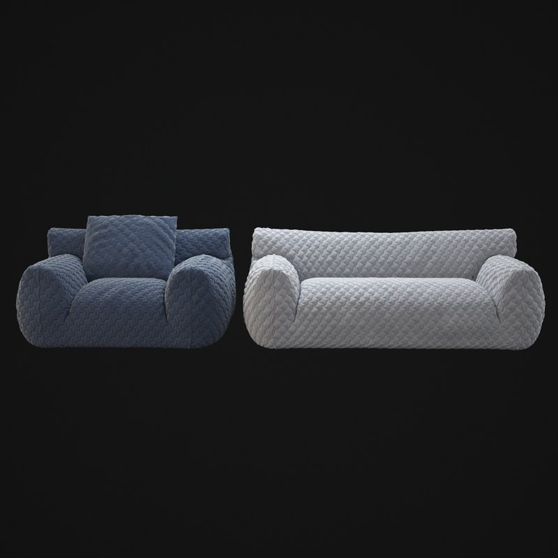3d Model Quilted Goose Down Sofa