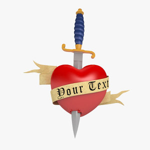 3d heart dagger