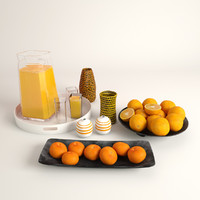 glass juice oranges mandarins 3d max