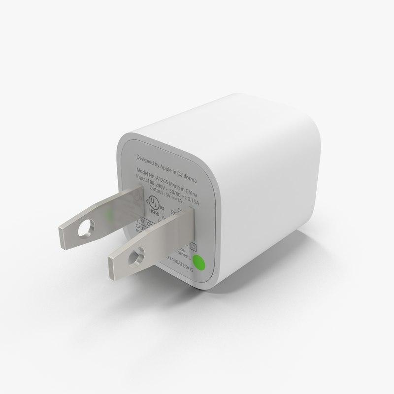 apple 5w usb power 3d model