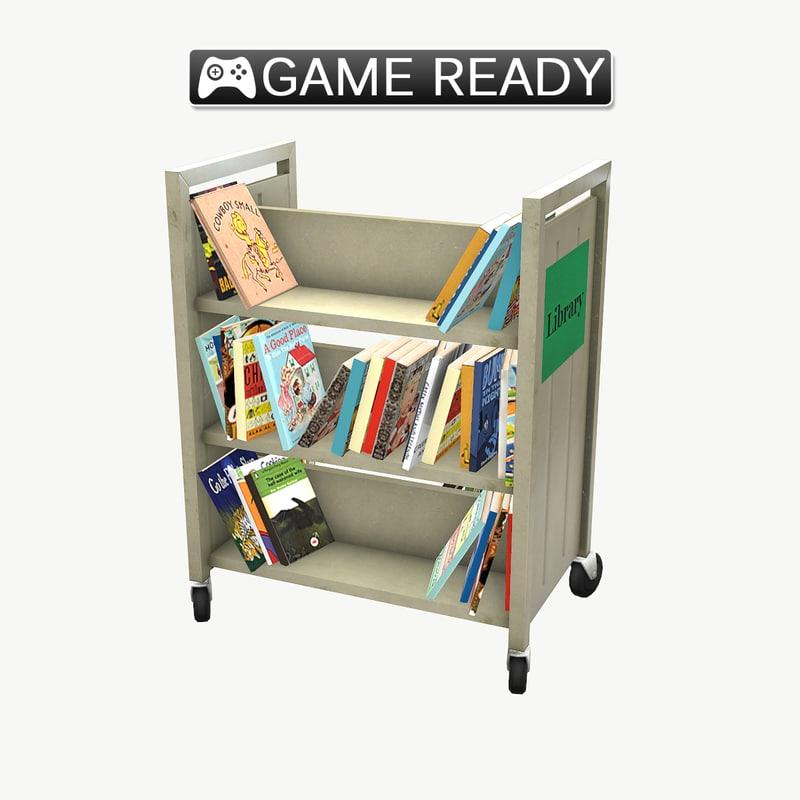 library book cart 3d model