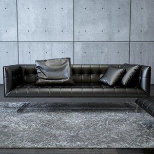 3d model edward leather sofa