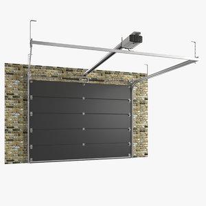 segmented garage door 3d model