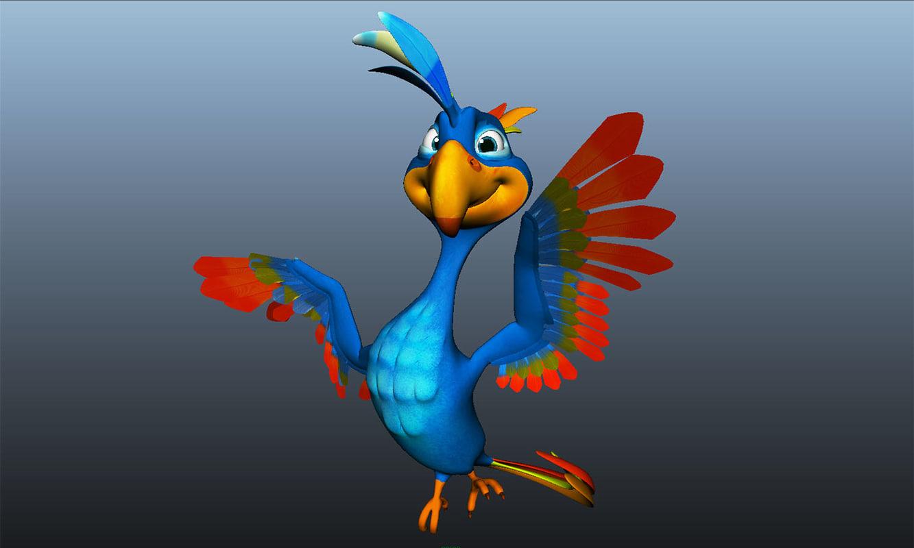 ready rigged cartoon bird ma
