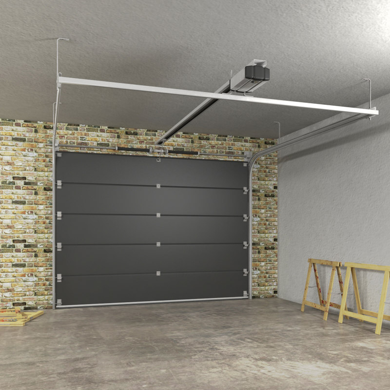 segmented garage door 3d model