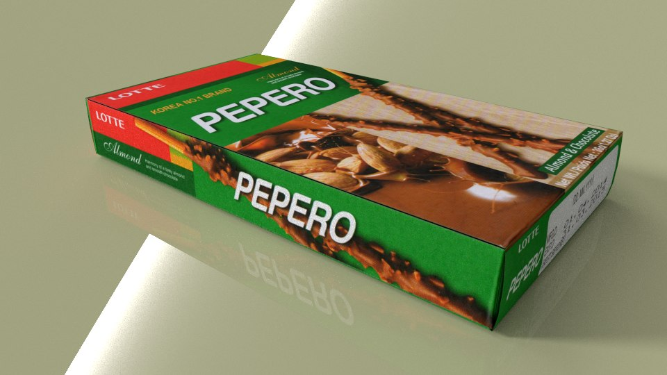 lotte pepero almond 3d model