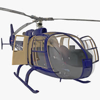 Gazelle Helicopter Rigged