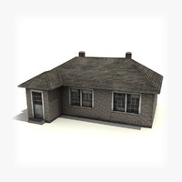 max low-poly brick house building