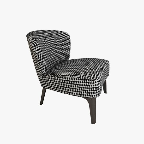 3d model minotti aston armchair