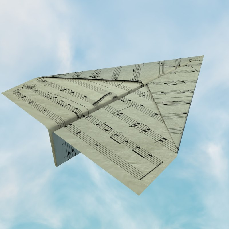 origami airplane 3d model