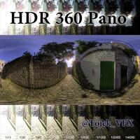 HDR 360 pano 3D Road04 cobblestone