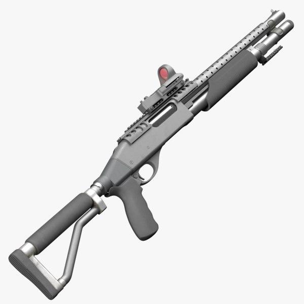 tactical remington 870 3d model