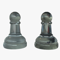 glass pawn chess piece 3d obj