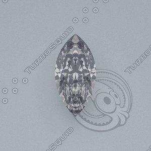 3d model marquise cut gemstone diamond