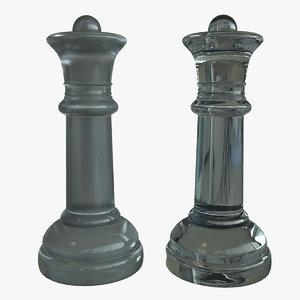 glass queen chess piece 3d model