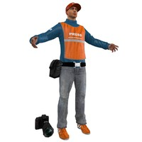 3d model of press photographer man