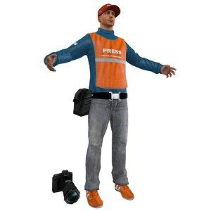 3d model of press photographer man