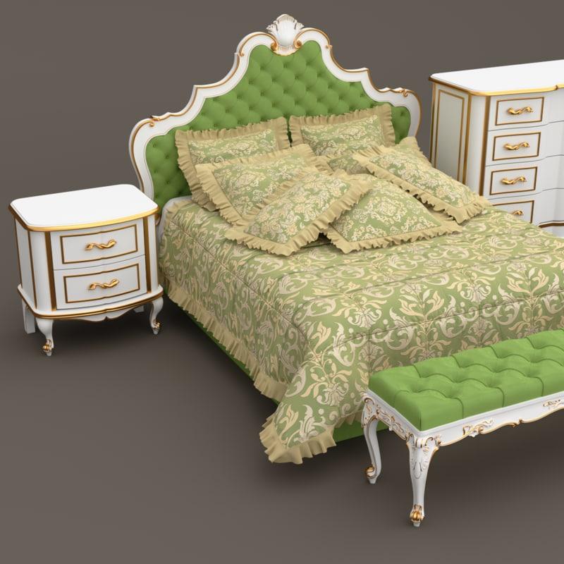3d model classic bedroom furniture set