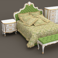 3d model classic bedroom furniture set