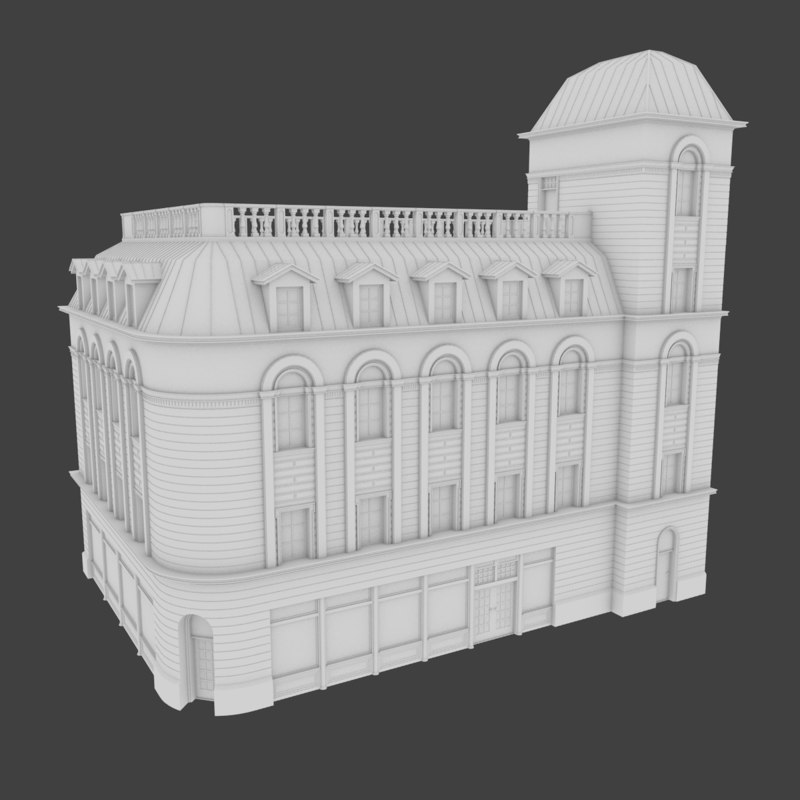 3d model of european building exterior
