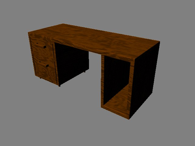 3d model wooden desk computer
