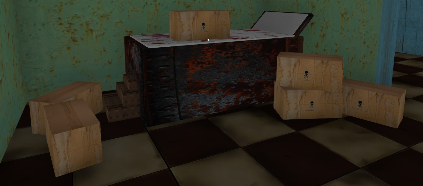 3d model of bloodied hospital table bed
