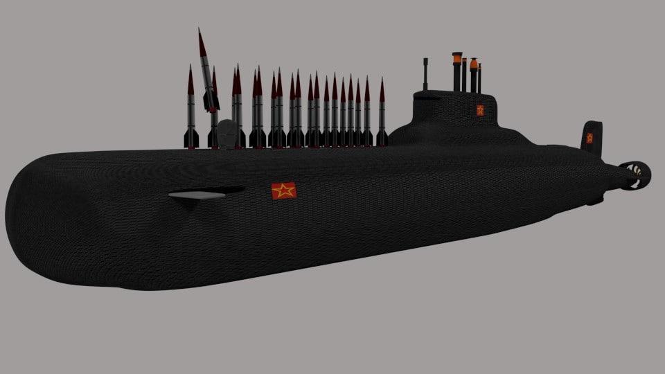 3d model typhoon class submarine