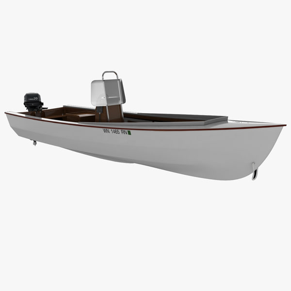3d skiff motor boat rigged model