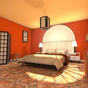 designs zen bedroom interior 3d model