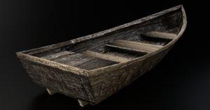3d model old wooden barton skiff