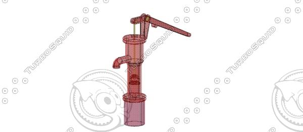 3d model water hand pump