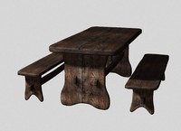3d model rustic table bench