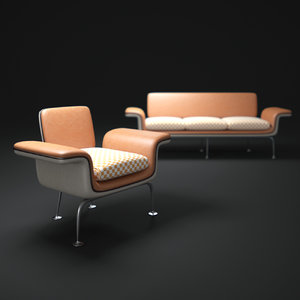 3d alexander-girard-group-herman-miller-sofa