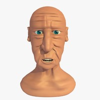 3d model morphed head elderly man cartoon
