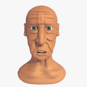3d model morphed head elderly man cartoon