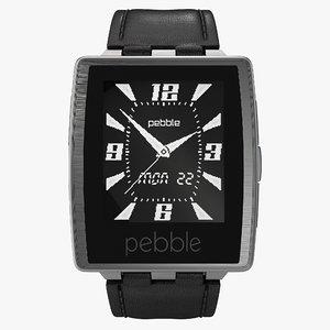3d model pebble steel smartwatch