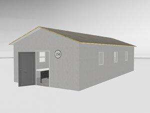 3d rundown military office model